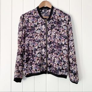 About A Girl Zip Front Floral Jacket Medium